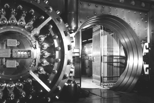 Bank vault door open